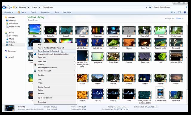 Dreamscene Windows 8 -