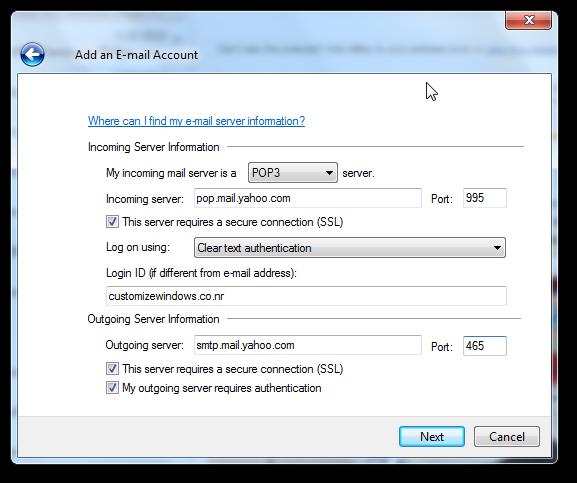 Windows Live Mail Server Settings
