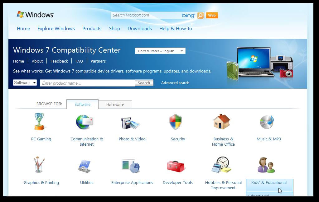 Windows 7 compitibillity center