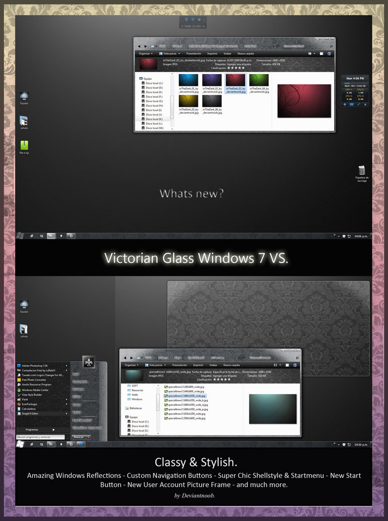 Victorian Glass with floral design Windows 7  theme