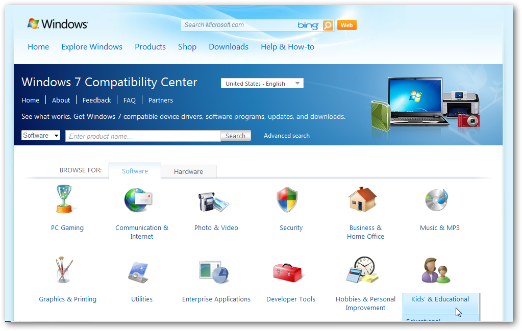 Windows 7 compitibillity center