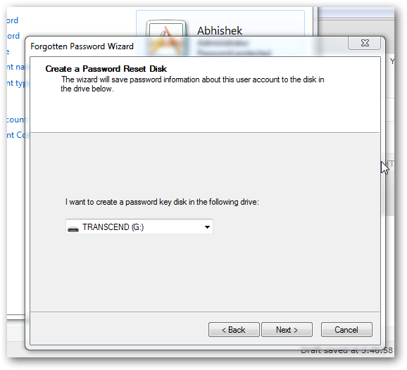 create a password reset disk in Windows 7-3
