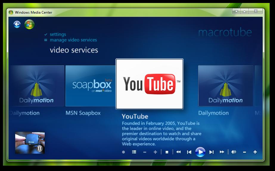 watch youtube in Windows 7 MediaCentre-4