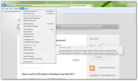 How to add a RSS feed in Internet Explorer 9-1