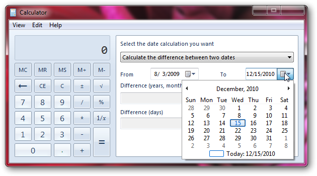 Calculate the difference between two dates in Windows 7-2
