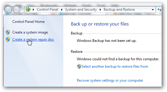 Create repair disk in Windows 7 1