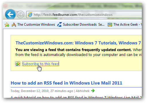 How to add a RSS feed in Internet Explorer 9-2