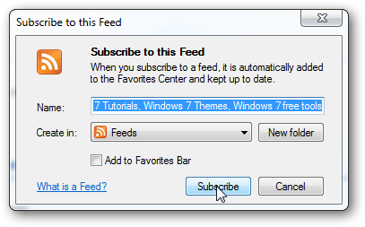 How to add a RSS feed in Internet Explorer 9-3
