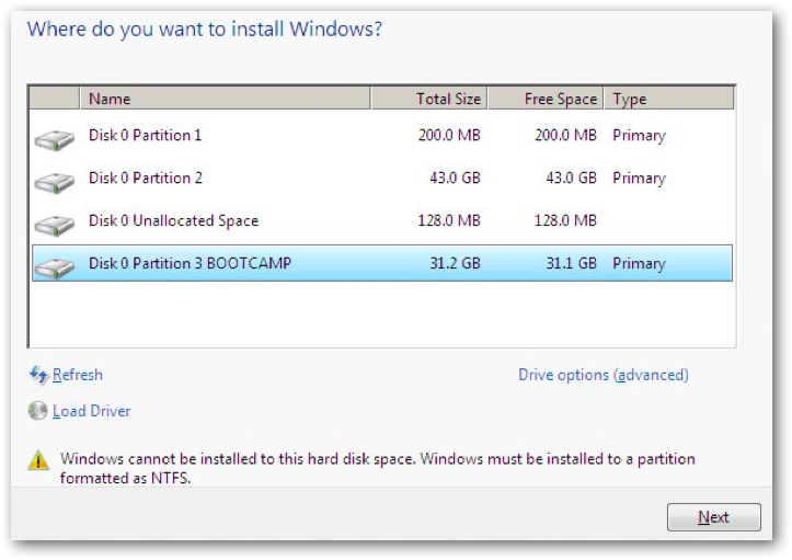 how to reinstall windows 7 bootcamp