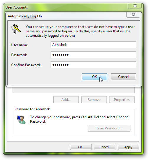 Log on automatically in Windows 7-3