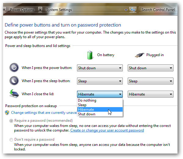 Set your Windows 7 to Shutdown,Sleep or hibernate on closing the lid of your Laptop-2