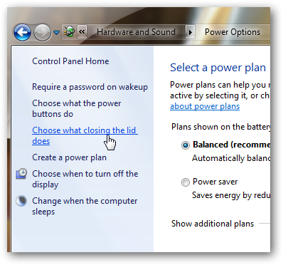 Set your Windows 7 to Shutdown,Sleep or hibernate on closing the lid of your Laptop