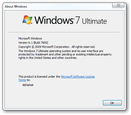 Version information and license Windows-2