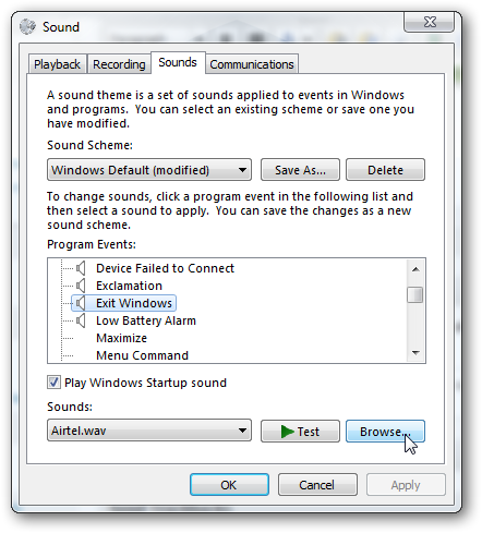 add a custom sound during shut down of Windows 7 4