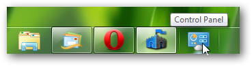 pin control panel on Windows 7 taskbar