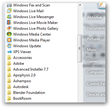 remove scroll bar in program menu 1