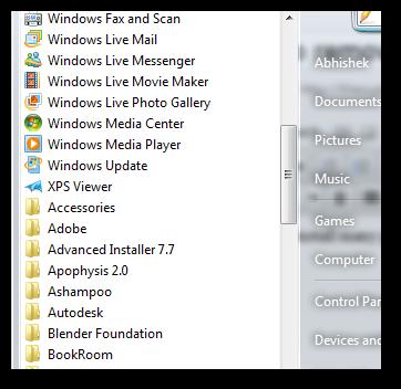 remove scroll bar in program menu 1