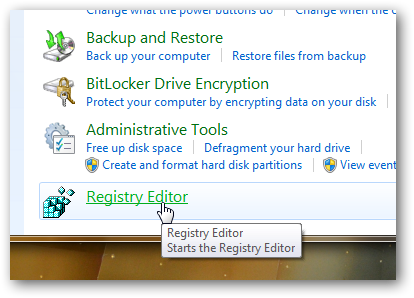 Add Registry Editor to Window 7 Control Panel