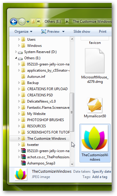 Change the folder icons in left side of explorer pane in Windows 7