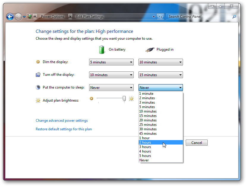 Change the time before your pc goes to standby in Windows 7