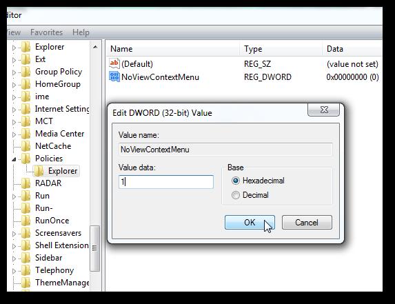 Disable right click on the taskbar in Windows 7-1