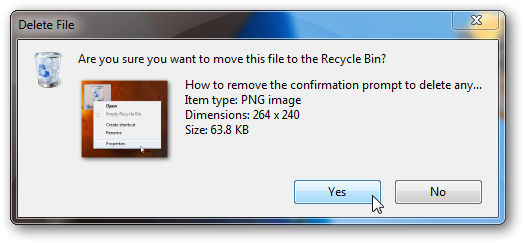 How to remove the confirmation prompt to delete any file in Windows 7-2