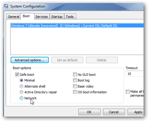 You can select to safe boot Minimal, Alternate Shell, Active Directory