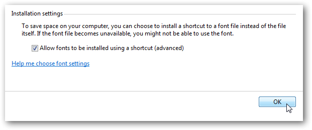 Install fonts as shortcuts in Windows 7-1