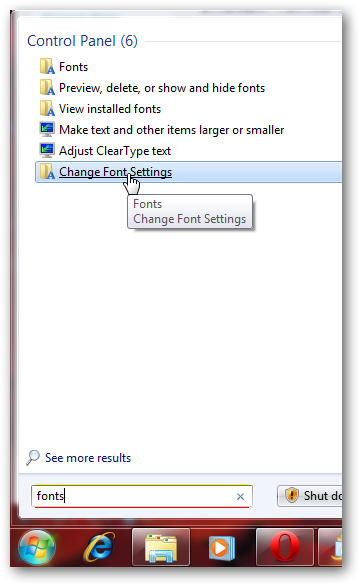 Install fonts as shortcuts in Windows 7