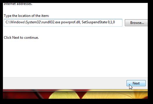 Shortcut to put computer into hibernation in Windows 7-1