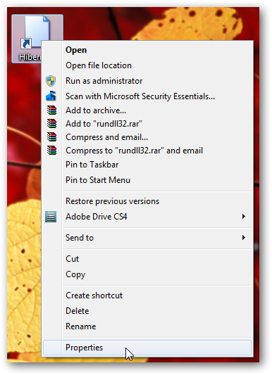 Shortcut to put computer into hibernation in Windows 7-2