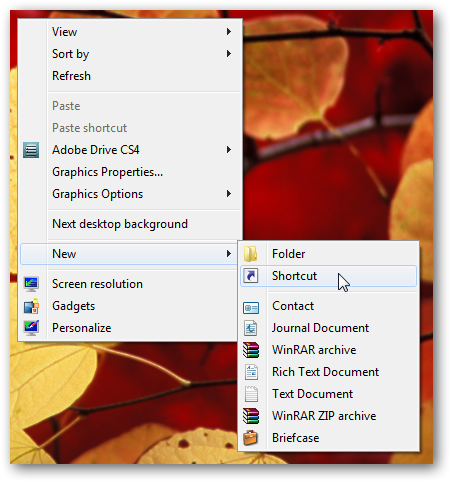 Shortcut to put computer into hibernation in Windows 7