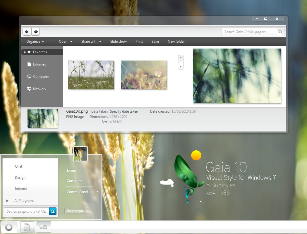 gaia10 translucent Windows 7 theme