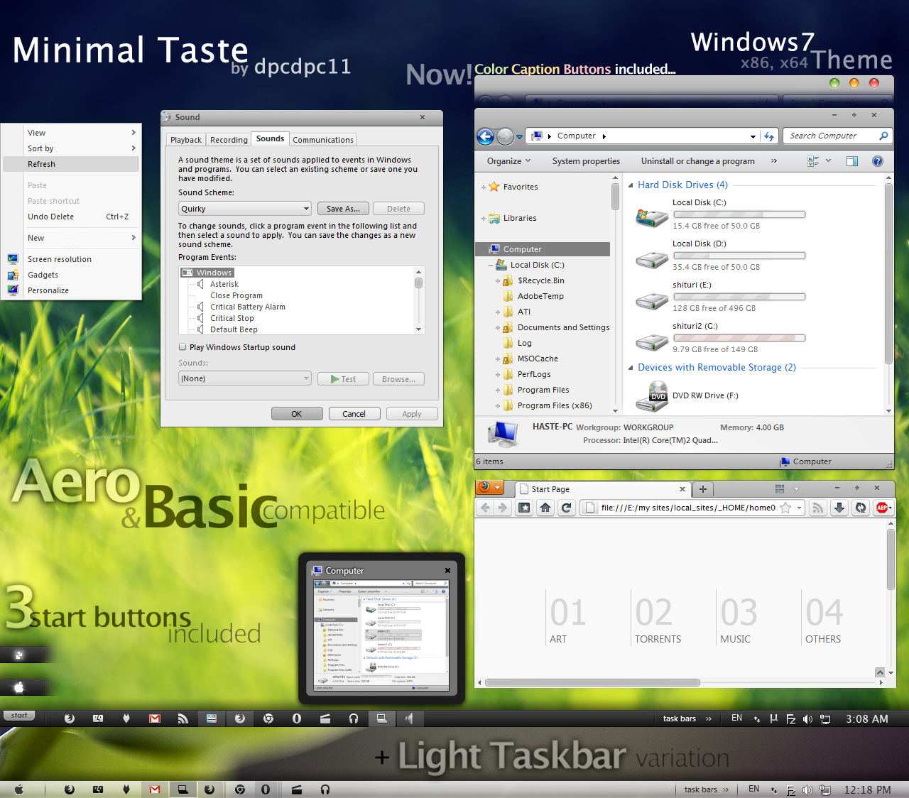 Minimal Taste theme for Windows7