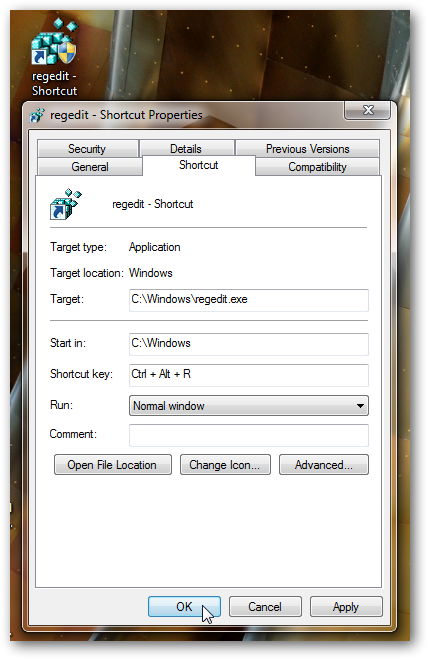 Create a shortcut to registry editor in Windows 7-1