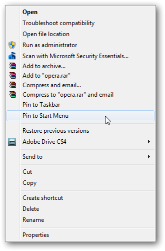 """How to remove """"Pin to Start Menu"""" in right click context menu in Windows 7"""