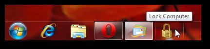 lock computer from taskbar in Windows 7