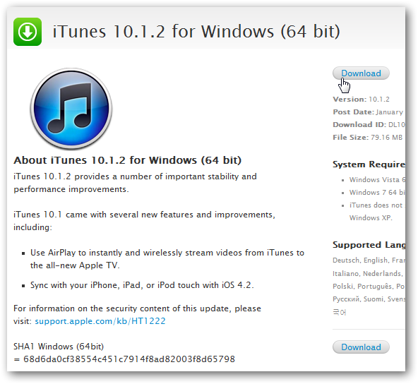 How to download 64 bit version of iTunes for Windows 7