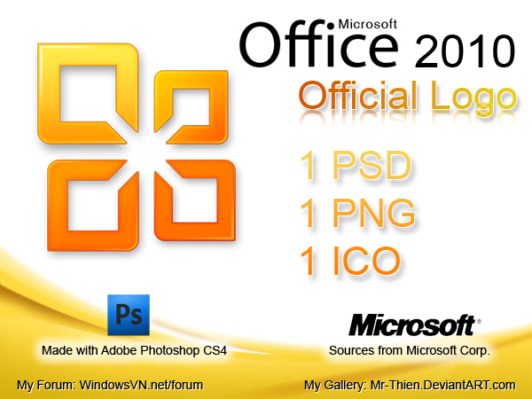 ms office 2010 official logo psd file and png icon