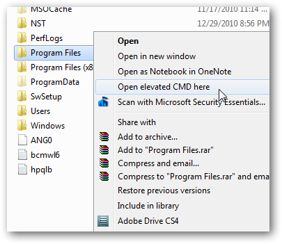 Open an elevated command prompt in any folder from right click context menu in Windows 7