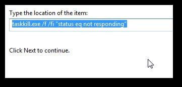 How to create a desktop shortcut to end non responding program in Windows 7-1