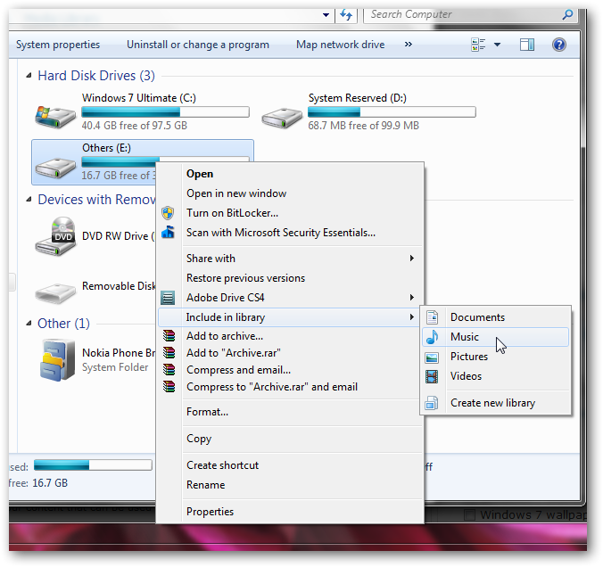 How to include any partition of hard disk inside any library in Windows 7-1