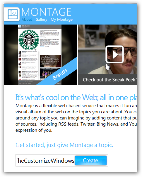 Keep track of topics of interest on the Internet by using Microsoft Montage