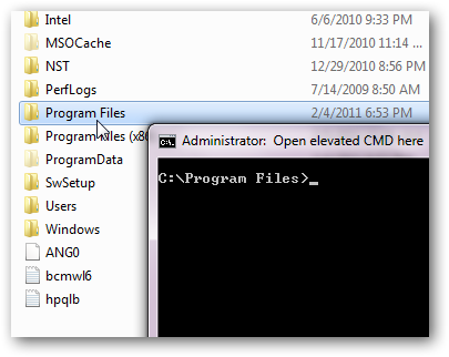 Open an elevated command prompt in any folder from right click context menu in Windows 7-1