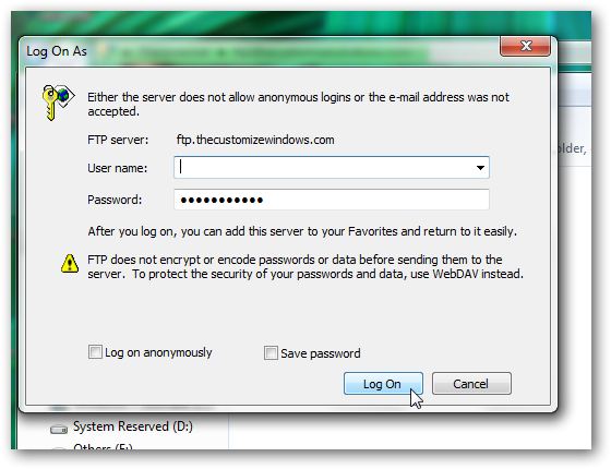 Access ftp server from Windows 7 explorer without using any software-2