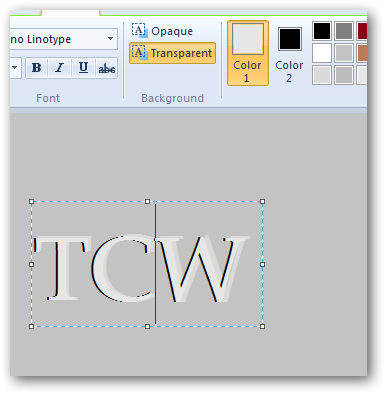 Creating pressed text effect in MS Paint in Windows 7-5