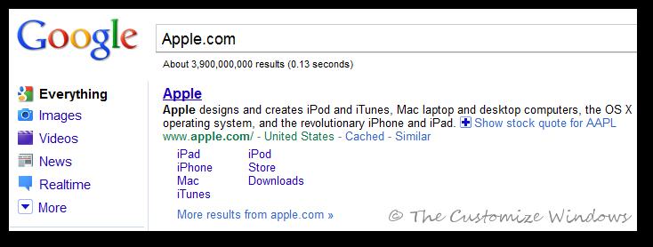 Apple sitelinks
