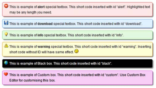 Colorful text boxes plugin to highlight text of your WordPress blog