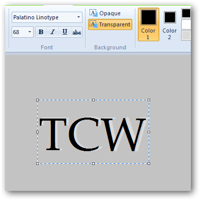 Creating pressed text effect in MS Paint in Windows 7-3