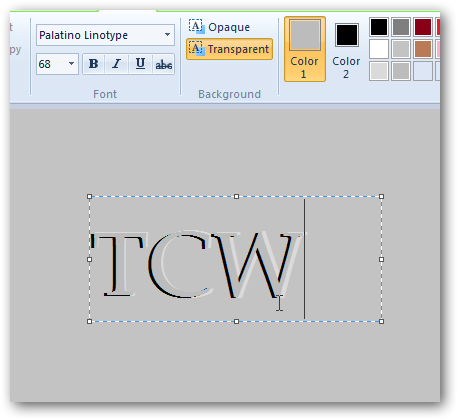 Creating pressed text effect in MS Paint in Windows 7-4
